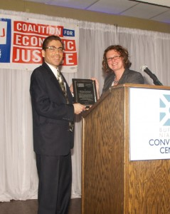 Michael LoCurto accepts award for progressive elected official.